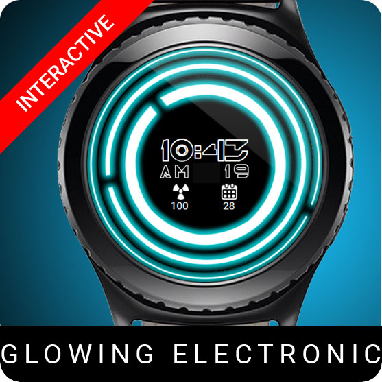 Glowing Electronic Watch Face for Samsung Gear S2 / Gear S3 / Galaxy Watch