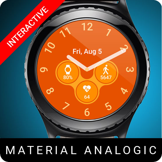 Material Analogic Watch Face for Samsung Gear S2 / Gear S3 / Galaxy Watch