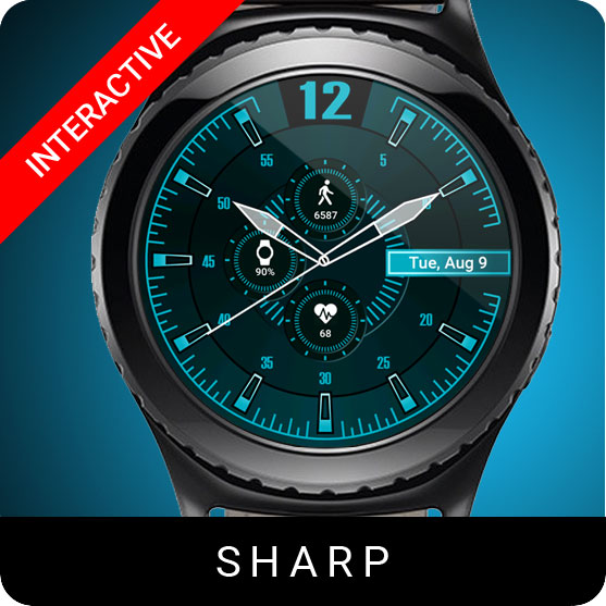 Sharp Watch Face for Samsung Gear S2 / Gear S3 / Galaxy Watch
