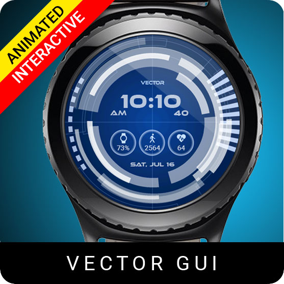 Vector GUI Watch Face for Samsung Gear S2 / Gear S3 / Galaxy Watch