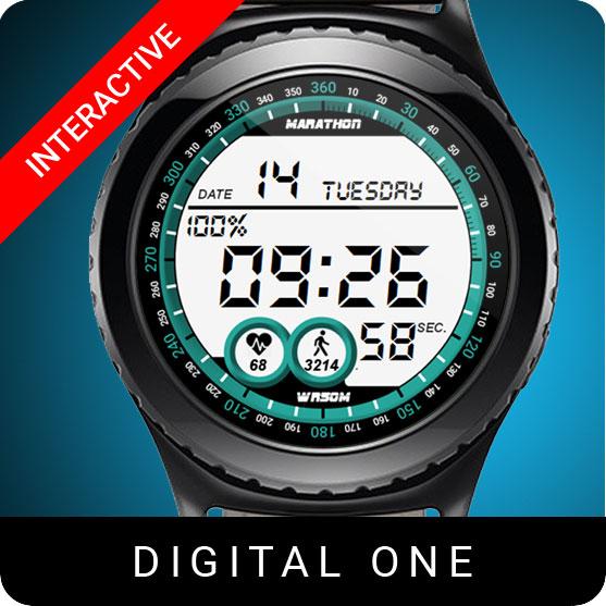 Digital One Watch Face for Samsung Gear S2 / Gear S3 / Galaxy Watch