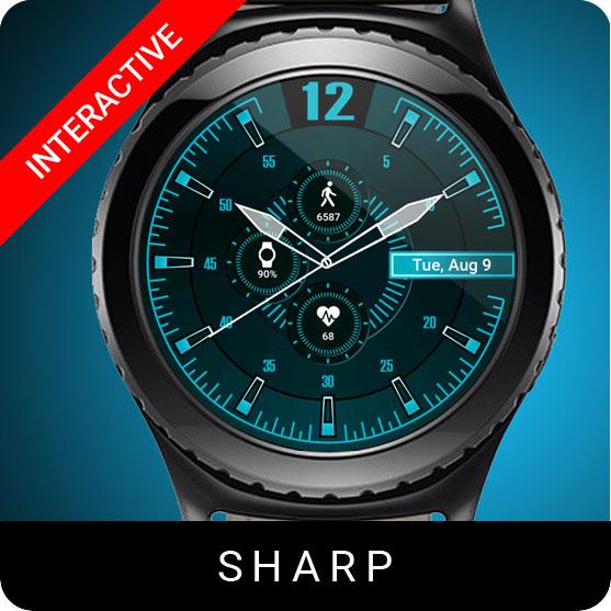 Sharp Watch Face for Samsung Gear S2 / Gear S3 / Galaxy Watch