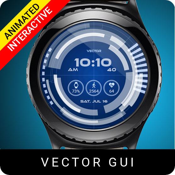 Vector GUI Watch Face for Samsung Gear S2 / Gear S3 / Galaxy Watch