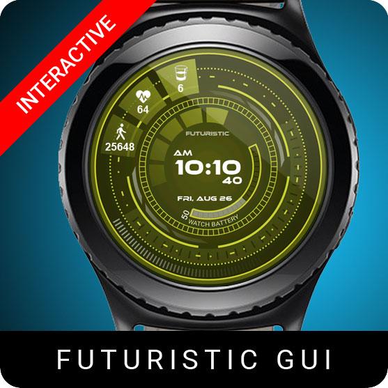 Futuristic GUI Watch Face for Samsung Gear S2 / Gear S3 / Galaxy Watch
