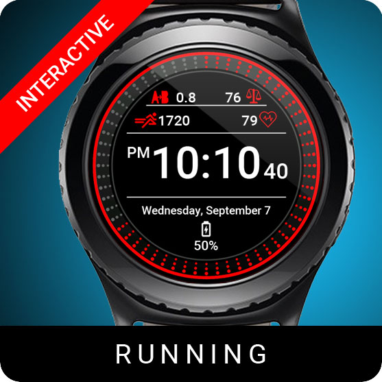Running Watch Face for Samsung Gear S2 / Gear S3 / Galaxy Watch